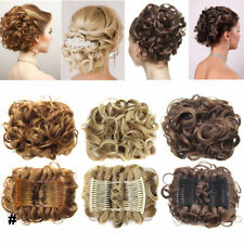 Comb Clip In Hair Bun Wave Curly Hair Piece Chignon Updo Cover Hair Extension LK