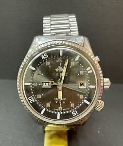Vintage ORIENT KING DIVER 104904E automatic  Green DATE SS Rotate Bezel 42 m  R5
