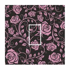 Rosa y Negro Clásico Rosa Floral Interruptor De Luz Pegatina De Vinilo Cubierta de Piel Calcomanía