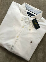 RALPH LAUREN POLO WHITE SLIM FIT L/S SHIRT TOP USA MODEL - XXL - NEW & TAGS