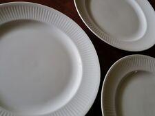 3 Rare Royal Copenhagen Denmark White Fluted Plates Danish Modern Luncheon