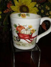 MAXCERA RED WHEELBARROW COFFEE CUPS MUGS SET/2 THANKSGIVING PUMPKINS SUNFLOWERS