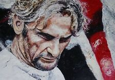 Carl Fogarty Palette Knife oil painting,World Champion,British, Motor Cycling.