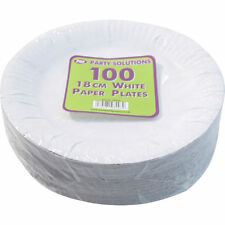 """2000 x WHITE DISPOSABLE PAPER PLATES 18CM 7"""" TABLEWARE PARTY CATERING FOOR ROUND"""