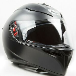 AGV K-3 Motorcycle Helmet Matt Black built-in Sun Visor, free pinlock