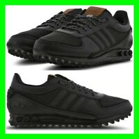 Mens Shoes Adidas LA Trainer Size 6.5-12.5 UK Low Top Sneakers Leather Jet Black