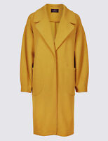 Ex M&S Ochre Yellow UNLINED Single-Breasted Coat Jacket Size 6 - 24 RRP £55
