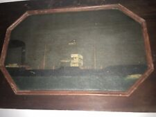Captains Chest Lid With Painting Of The Ship He Sailed 1870's Cool Piece Of Art