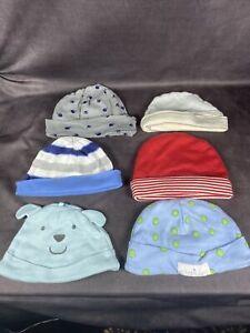 Lot of 6 Boy Beanie Hats Caps - Carter's, Gerber, Elegant Baby - Blue Bear, Red