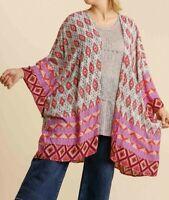 New Umgee Duster Kimono 1X 2X Pink Aztec Geometric Boho Peasant Plus Size