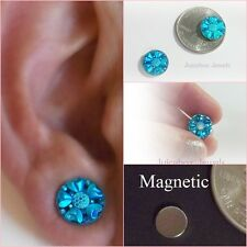 MAGNETIC Blue Flower Stud 12 mm Bright Shiny Non Pierced Fashion Earrings #M165