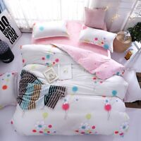 Floral Printing Pink Bedding Set Duvet Quilt Cover+Sheet+Pillow Case Four-Piece