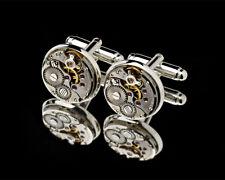 Handgefertigt Manschettenknöpfe Sterlingsilber 925 Mechanismus Uhrwerk Zahnrad