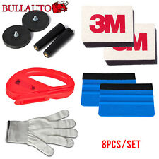 Car Wrap Vinyl Tools Kit 2 3M Felt Squeegee Razor Cutter Gloves 2 Magnet holders
