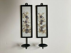 2 Iron Wall Candle Sconces Pressed Dried Purple Flowers Clear Glass Cottagecore