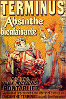 TERMINUS ABSINTHE PONTARLIER THE ONLY BENEFICIAL FRENCH VINTAGE POSTER REPRO