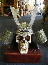 SAMURAI SKULL HEAD STATUE Figure Ornament GOTHIC WARRIOR Horror JAPAN PAGAN