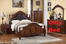Modern 1 Pc Est King Size Bed Bedroom Furniture Cherry Wood Finish Button Tufted
