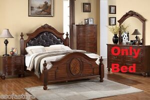 Modern 1Pc Cal King Size Bed Bedroom Furniture Cherry Wood Finish Button Tufted