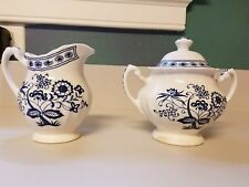 J.&G. Meakin Classic White BLUE NORDIC Onion Pattern Creamer & Sugar Bowl w/Lid