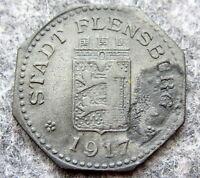 GERMAN NOTGELD SCHLESWIG HOLSTEIN TOWN FLENSBURG 1917 10 PFENNING, ZINC