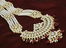 Indian Bollywood Maroon Long Rani Haar Wedding Party Wear Necklace Earrings Set
