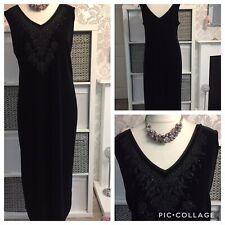 berkertex 22 dress long maxi black sleeveless velvet occasion evening cruise S6