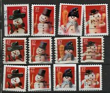3684-3691 snowmen on stamps of United States used (#D6)