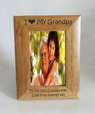 GrandPa Photo Frame- I heart-Love My GrandPa 5 x 7 Photo Frame - Free Engraving