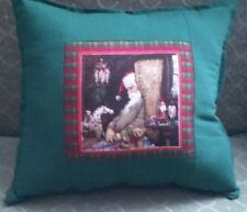 Country Cottage Christmas Holiday Old Time Sleeping Santa & Toys Plaid Pillow