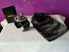 MIMCO Wide Black Resin Cuff/Bangle, Silvertone Snake Embellishment with Crystals