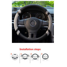 38cm GRAY Breathable Microfiber Leather Ice Silk Steering Wheel Cover for Summer