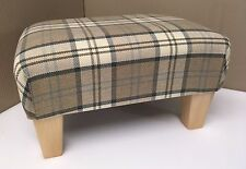 Footrest Footstool With Wooden Legs in a Brown and Beige Quality Tartan Fabric
