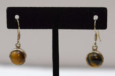 Earrings Sterling Silver Tiger Eye Round Stone 30mm