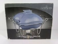 Godinger 1 Quart Covered Porcelain Baker With Warmer Stand Made in China