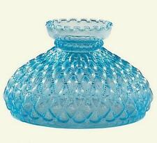 """10"""" Student Lamp Shade Blue Glass Diamond Quilted Desk Table Quilt Oil Kerosene"""