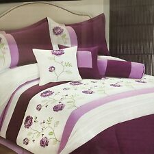 Luxurious 7pcs King Embroided Comforter Set Purple Lilac White
