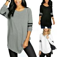 UK 8-24 Women Crewneck Long Sleeve Casual Loose Plain Tops T Shirt Blouse Plus