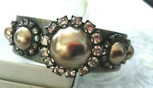 Liz Palacios Swarovski Crystal Gold CUFF Bracelet RARE
