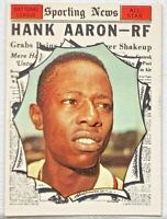 1961 TOPPS HANK AARON AS #577 NM GREAT COLOR CLEAR PIC HALL OF FAME NO CREASES