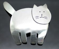 CUTE! HANDCRAFTED VINTAGE  CAT  STERLING SILVER BROOCH