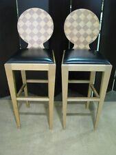 "*Pair* Vintage Donghia ""Paris Hall"" Counter Chairs; Birch & Walnut"