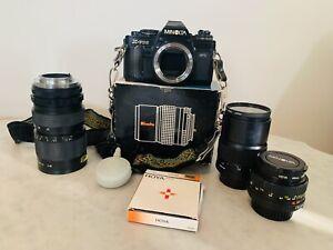 Minolta X-700 Camera, Lenses, and Case Lot