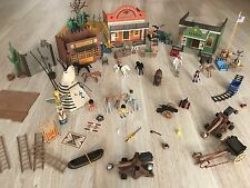 Huge PLAYMOBIL Western Lot Town Of Cowboys & Indians Horses Accessories