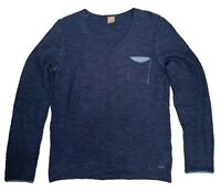 HUGO BOSS T-Shirt Men's Gray Tee Size M Long Sleeves V Neck Style Orange Label