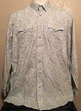Panhandle Slim Rough Stock Men's 2XL Pearl Snap Blue Paisley Long Sleeve Shirt