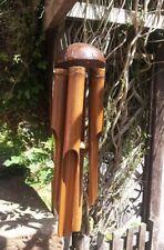 Gran carillón de viento hecho a mano Natural Bambú & Coco Windchime, (sencillo) 100cm
