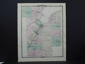 Wisconsin Map 1881 Double Sided Counties of Brown & Manitowoc L23#26