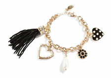 NWT GUESS Whild Thing Heart Gold tone & Black Charm Bracelet w/ tassel