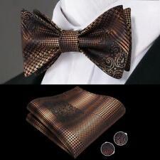 USA Brown Black Paisley Self Bow Tie Classic Mens Silk Necktie Bowtie Set